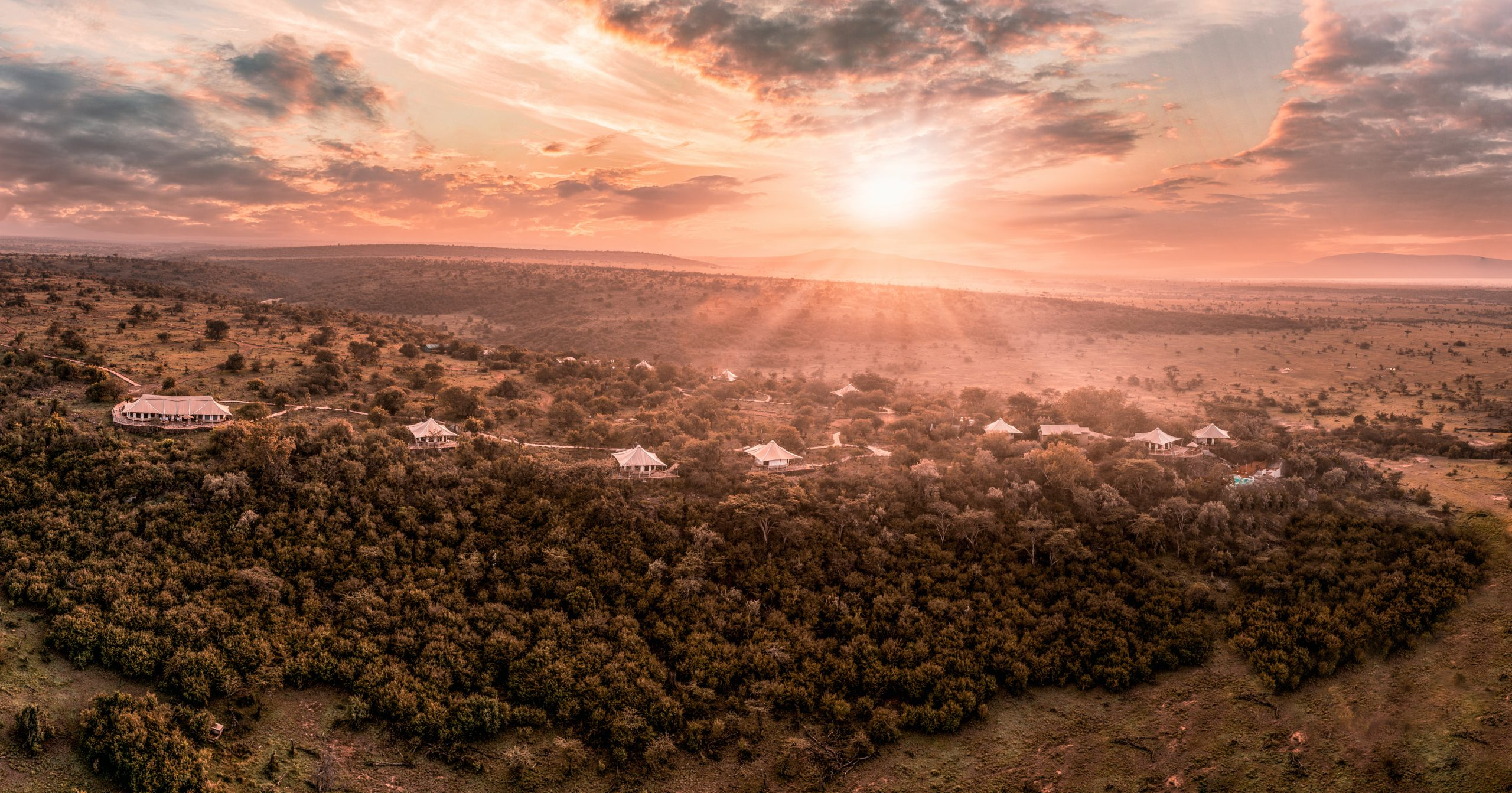 Wide aerial sunrise view